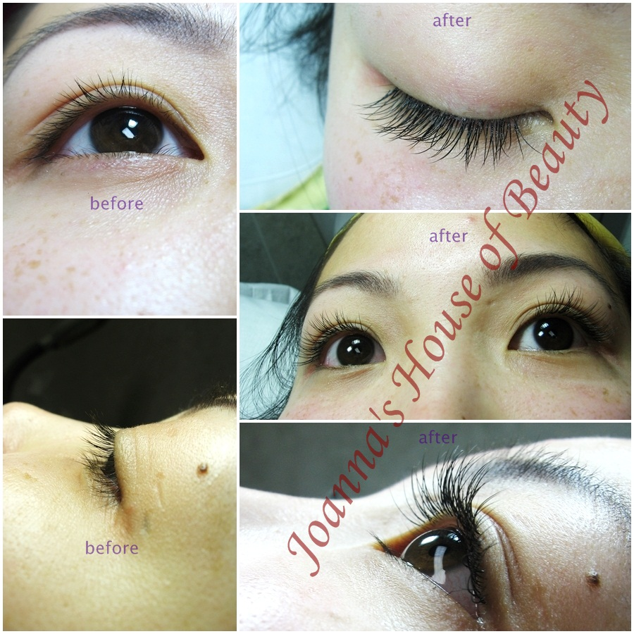 Eyelash extension client before/after photos